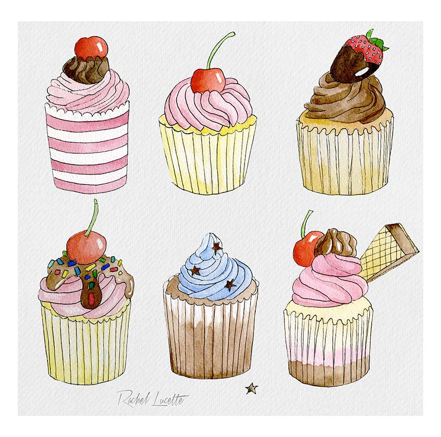 cupcake watercolour illustrations